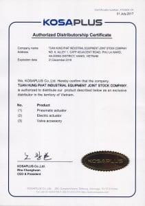 giấy chứng nhận phân phối độc quyền van điều khiển kosaplus