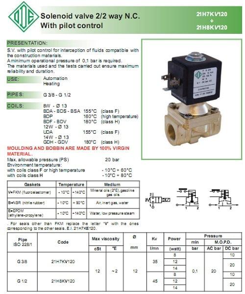 catalog van điện từ ode 21H8KV120 - 21h7