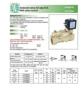 catalog van điện từ ode 21w3zb190 dạng thường mở